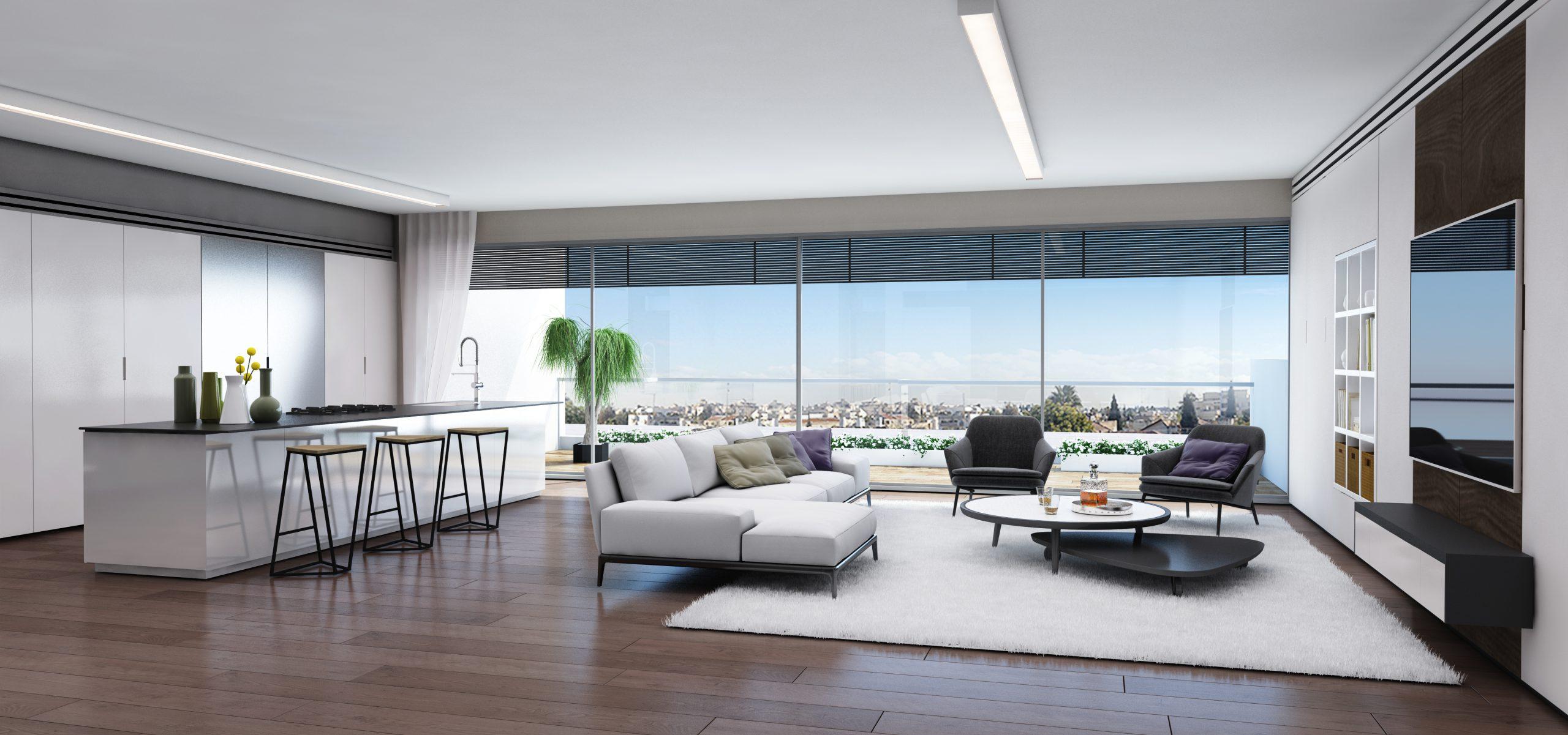 סלון בדירה ברמת אביב למכירה - פרויקט ONE