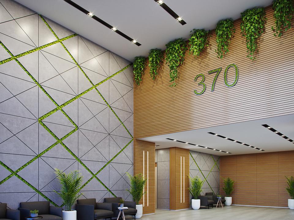 הדמיית לובי - תקרה גבוהה, פינות ישיבה וקיר דקורטיבי עם צמחיה